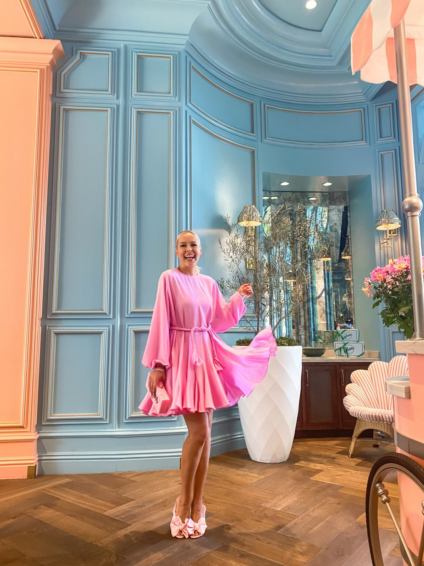 Travel style inspiration at Sadelle's in Bellagio Hotel Las Vegas, featuring Victoria Emerson sale accessories. By Lombard & Fifth Veronica Levy. Pastel décor.
