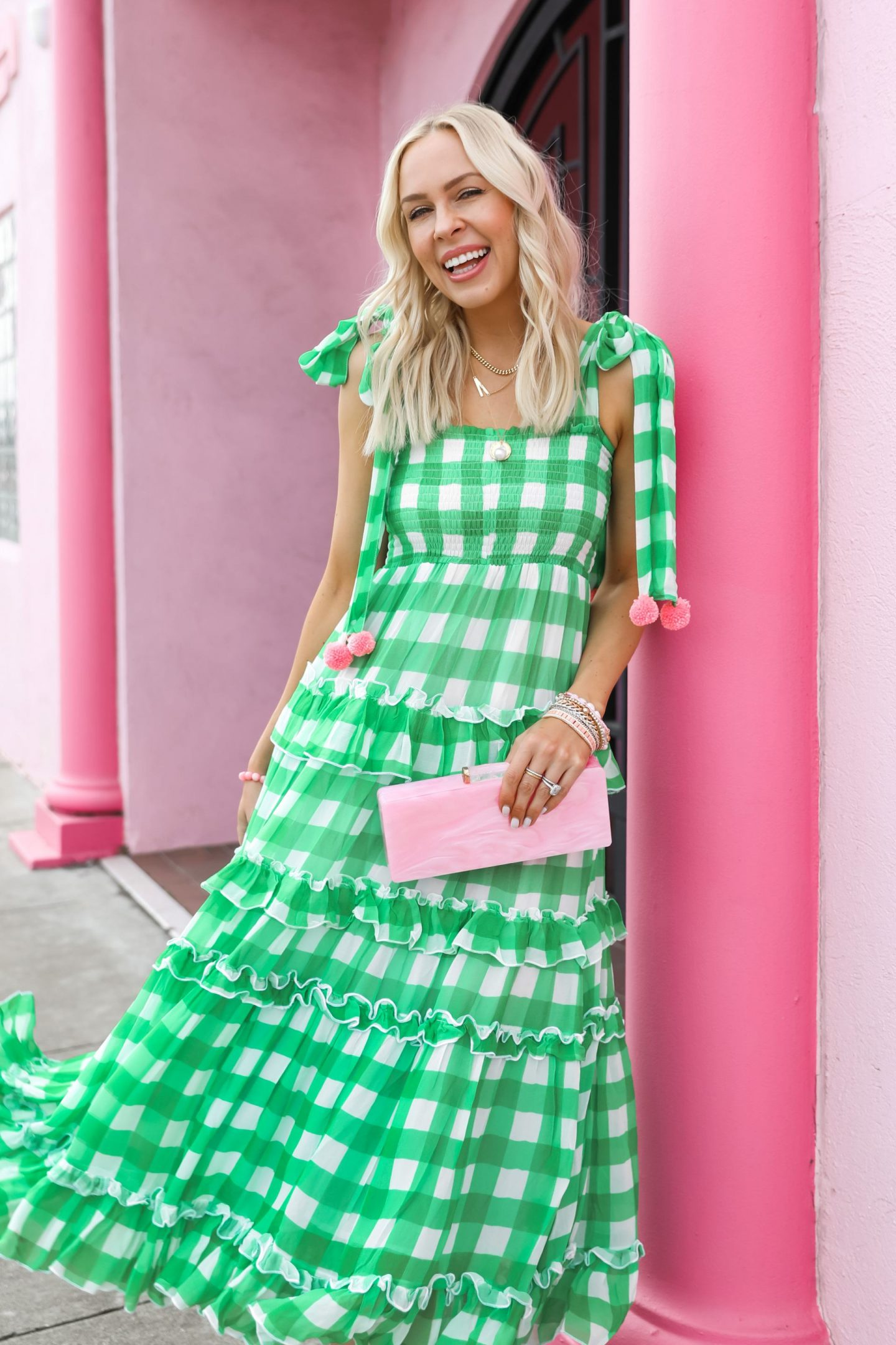 Save vs. splurge gingham favorites from greens to blush pastels style inspiration, by Lombard & Fifth Veronica Levy.