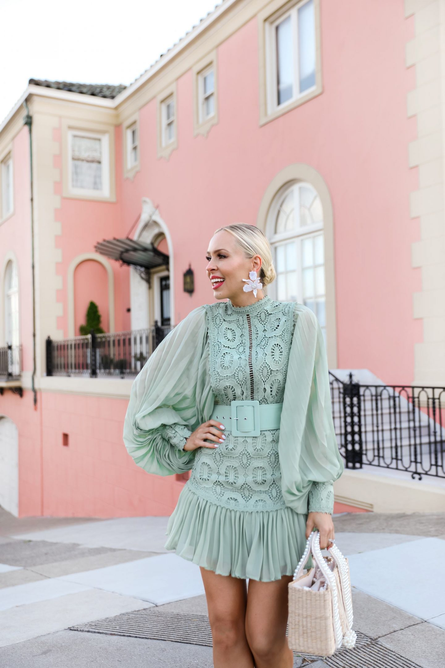 Green lace sage mini dress from ASOS, by a pink house in San Francisco, by Lombard & Fifth Veronica Levy.