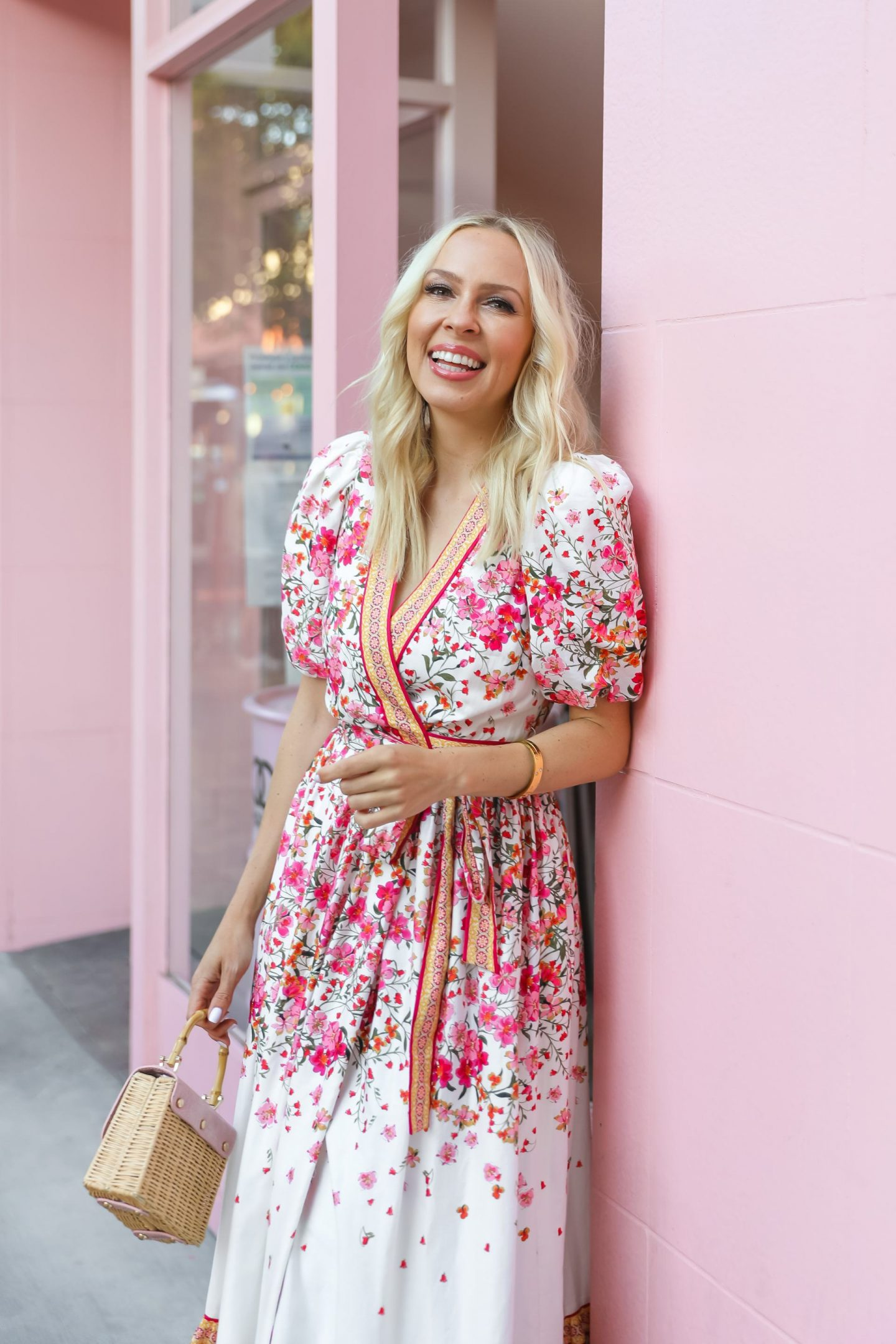 Summer floral maxi dresses from Dillard's, Antonio Melani by pink wall in San Francisco, by Lombard & Fifth.