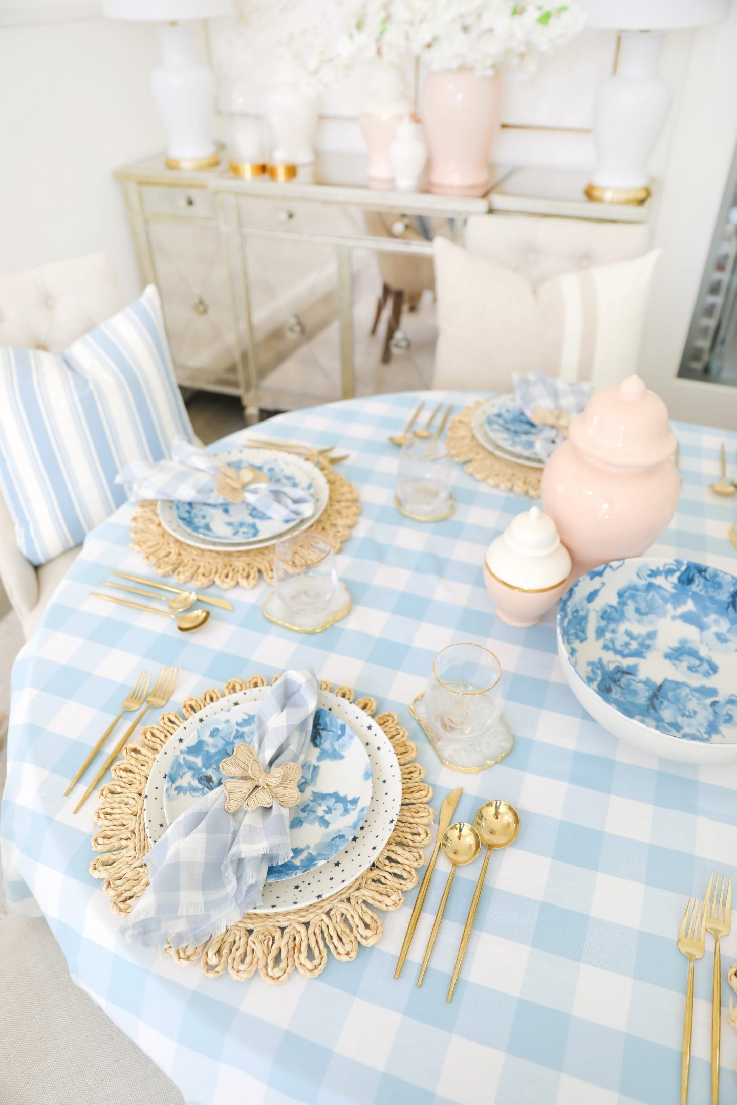 Blue and white table scape from Rachel Parcell summer home collection, by Lombard & Fifth Veronica Levy.