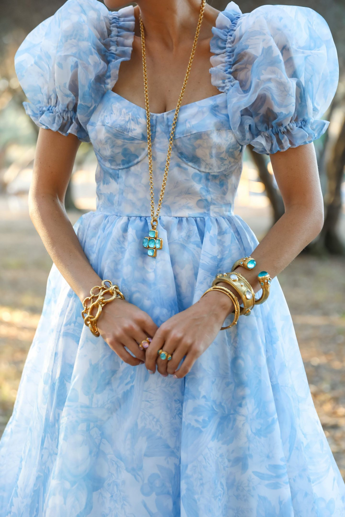 Summer accessories feminine whimsical style inspiration, Julie Vos jewelry and Selkie dress. By Veronica Levy, Lombard & Fifth.