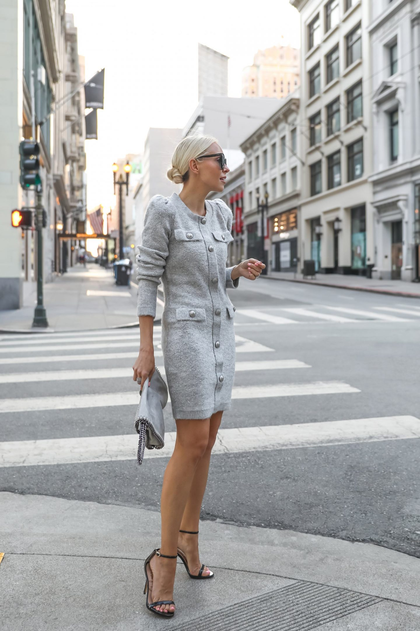 Fall style inspiration, featuring button front sweater dress from Express in grey and more favorites. By Veronica Levy, Lombard & Fifth.