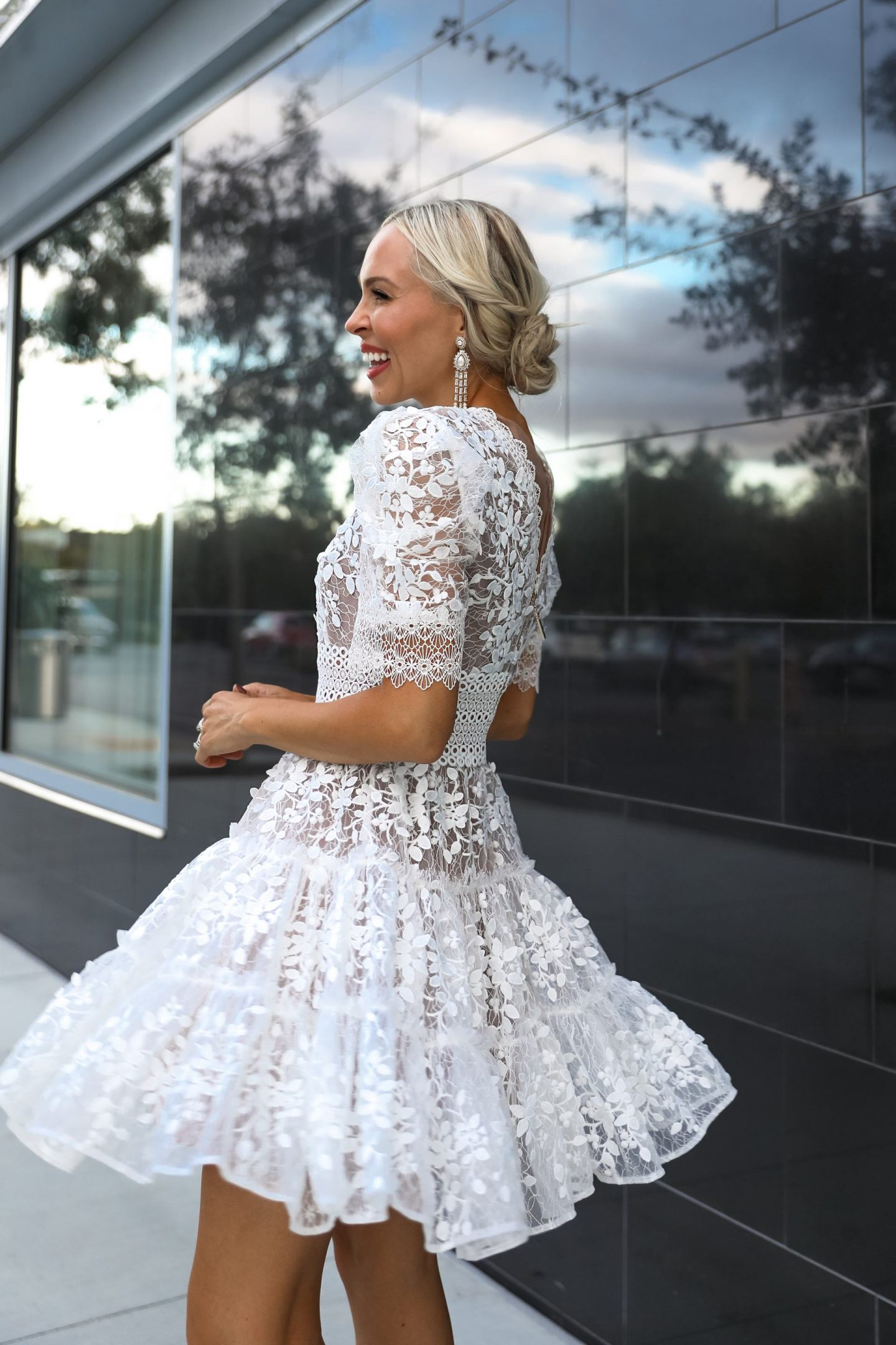 White mini dress inspiration for the bride. Fall and winter wedding style, by Veronica Levy Lombard & Fifth.